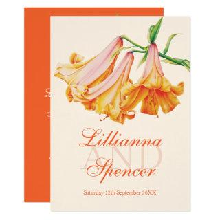Lily bell flower art orange  cream wedding invitation