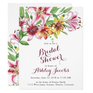 Lily Flower Bouquet Bridal Shower Invitation