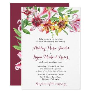 Lily Flower Bouquet Wedding Invitations