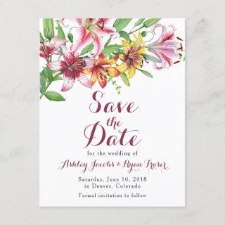 Lily Flower Bouquet Wedding Save the Date