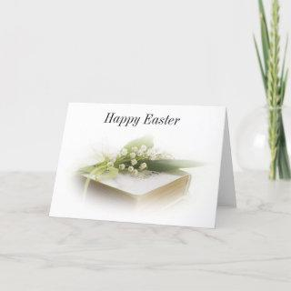 lily of the valley with bible Happy Easter Holiday Card