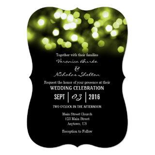 Lime Black Bokeh Glitter Lights Wedding Invites
