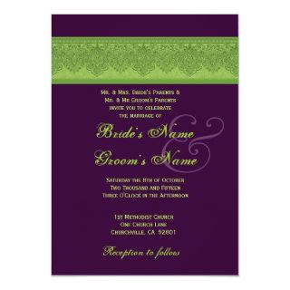 Lime Damask and Eggplant Wedding Invitations