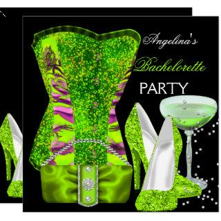 Lime green Bachelorette Party Shoes Corset Invitations