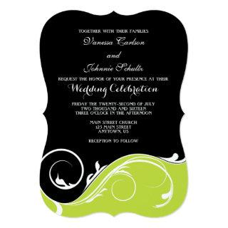 Lime Green Black Swirl Bracket Wedding Invites