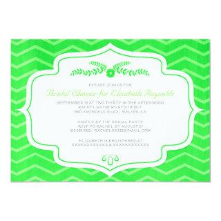 Lime Green Chevron Bridal Shower Invitations