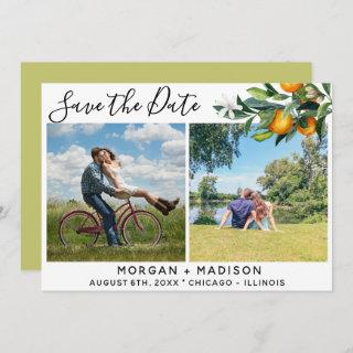 Lime Green Oranges Save the Date Photo Announcement