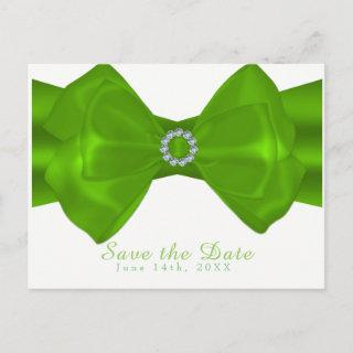 Lime Green Ribbon & Diamonds Elegant Save the Date Announcement Postcard