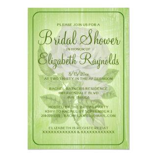 Lime Green Rustic Floral Bridal Shower Invitations