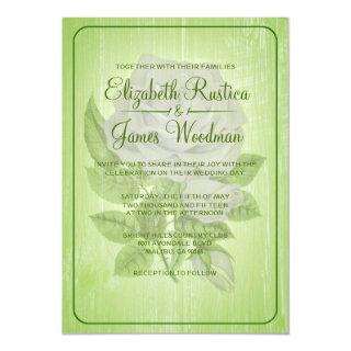 Lime Green Rustic Floral Wedding Invitations