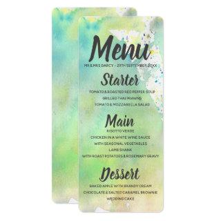 Lime Green Watercolor Menu Invitations