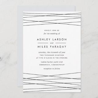 Lineation Wedding Invitation | Black & White