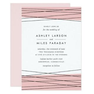 Lineation Wedding Invitations | Blush & Black