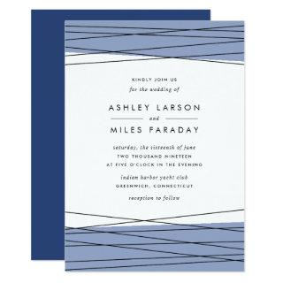 Lineation Wedding Invitations | Steel Blue