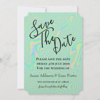 Liquid Faux Green Holographic Texture Save The Date