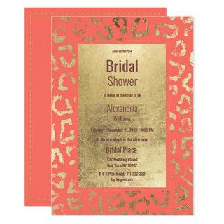Living coral gold animal print Bridal Shower Invitation