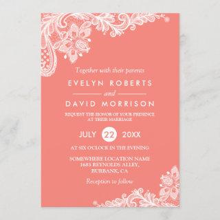 Living Coral Lace Beautiful Wedding Invitations