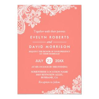 Living Coral Lace Beautiful Wedding Invitation