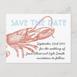 Lobster Save the Date Announcement Postcard