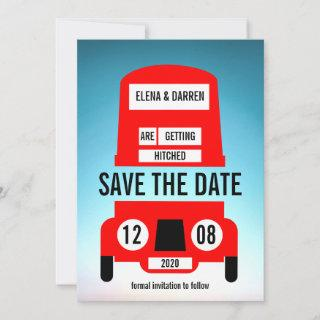 London Red Bus Wedding Save The Date