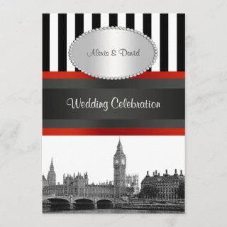 London Skyline BW Blk Wht Strp Red P Wedding Invitations