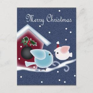 Long Distance Love Birds Our First Christmas Holiday Postcard