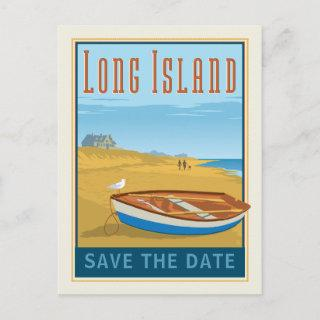 Long Island, New York | Save the Date Announcement Postcard