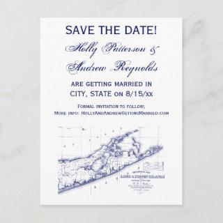 Long Island The Hamptons Map VC Announcement Postcard