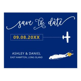 Long Island Wedding Save the Date Map Postcard