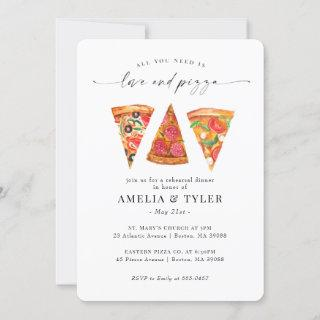 Love and Pizza Rehearsal Dinner Invitations