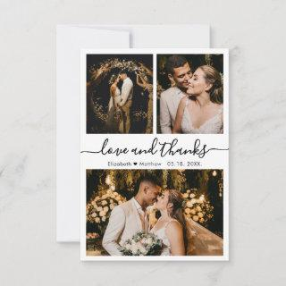 Love and Thanks Script Wedding Photo  Thank You Card