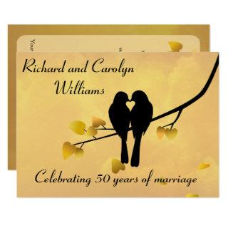Love Birds 50th Anniversary Invitations