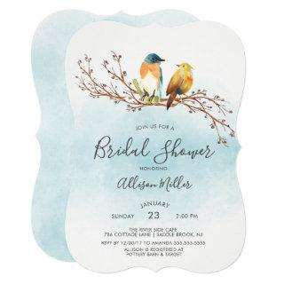 Love Birds Couple Bridal Shower Invitation