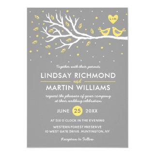 Love Birds on Tree Wedding Invitation  Yellow Gray
