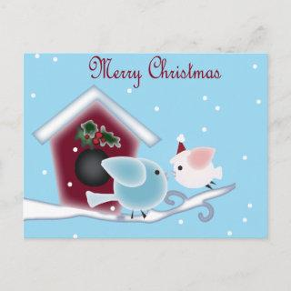 Love Birds Our First Christmas together Holiday Postcard