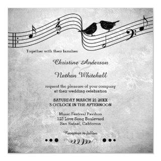 Love Birds Song Music Wedding Invitations