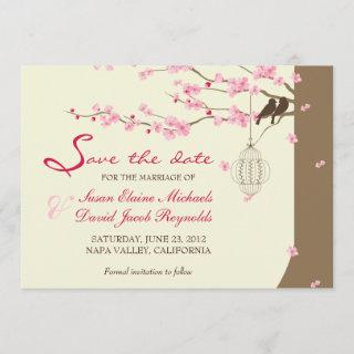 Love Birds Vintage Cage Cherry Blossom Save Date Save The Date