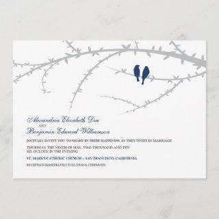 Love Birds Wedding Invitations (navy)