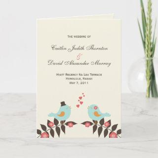 Love Birds Wedding Program Cards
