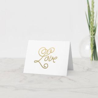 Love Blank Gold Wedding Note Cards