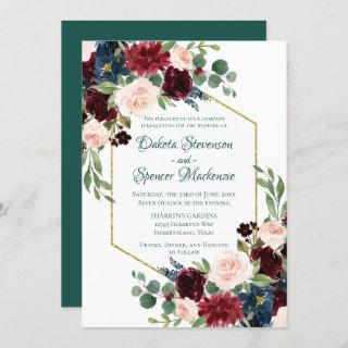 Love Bloom | Bold Green Floral Gold Frame Wedding Invitation