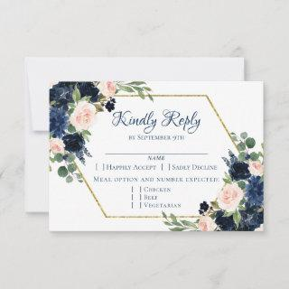 Love Bloom | Chic Blush Navy Floral Wreath Entree RSVP Card