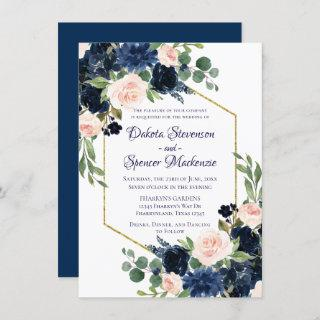 Love Bloom | Chic Navy Blush Floral Wedding Invitation