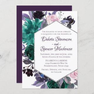 Love Bloom | Eggplant Moody Purple Floral Garland Invitations