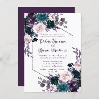 Love Bloom | Eggplant Moody Purple Floral Garland Invitation