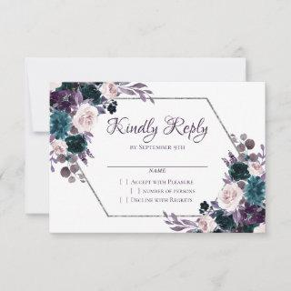 Love Bloom | Eggplant Moody Purple Floral Garland RSVP Card