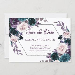 Love Bloom | Eggplant Purple Floral Silver Frame Save The Date