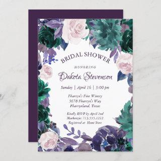 Love Bloom | Eggplant Purple Moody Bridal Shower Invitation