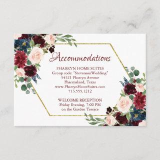 Love Bloom | Elegant Burgundy Floral Accommodation Enclosure Card