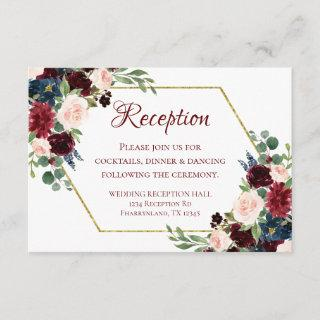 Love Bloom | Elegant Burgundy Floral Gold Frame Enclosure Card